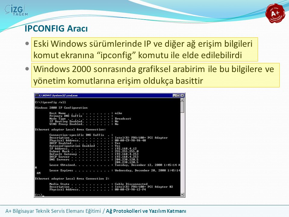 IPCONFIG Aracı Eski Windows sürümlerinde IP ve diğer ağ erişim bilgileri komut ekranına ipconfig komutu ile elde edilebilirdi.