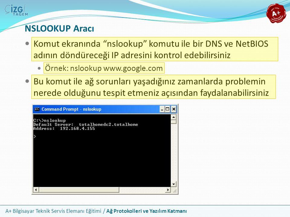 NSLOOKUP Aracı Komut ekranında nslookup komutu ile bir DNS ve NetBIOS adının döndüreceği IP adresini kontrol edebilirsiniz.