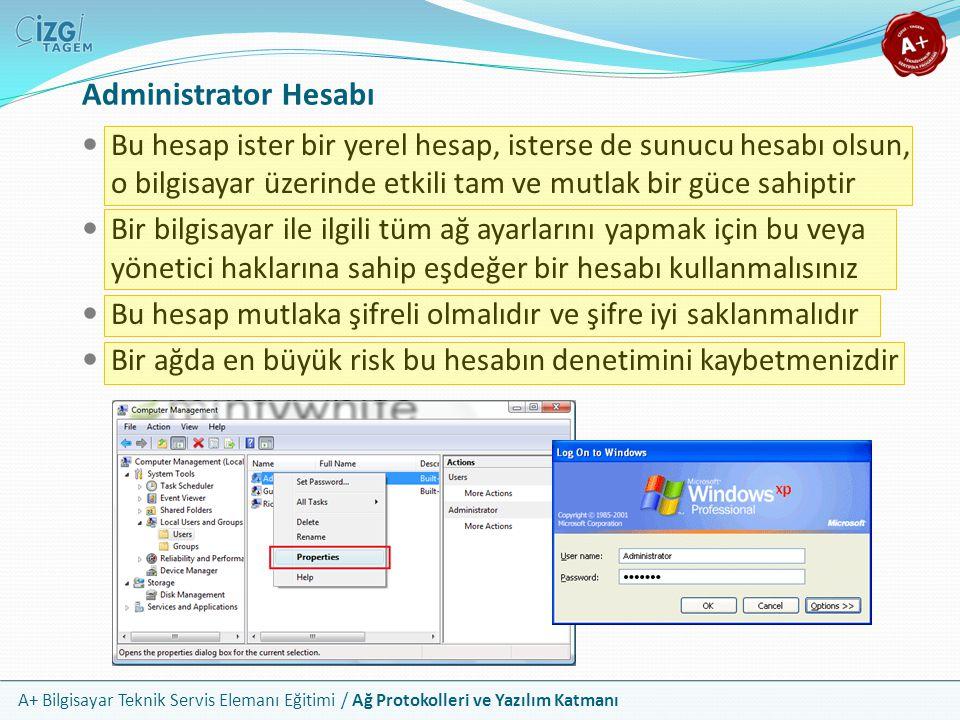 Administrator Hesabı Bu hesap ister bir yerel hesap, isterse de sunucu hesabı olsun, o bilgisayar üzerinde etkili tam ve mutlak bir güce sahiptir.