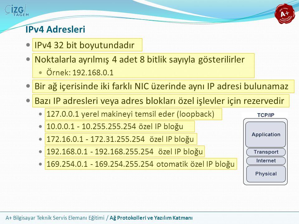 IPv4 Adresleri IPv4 32 bit boyutundadır