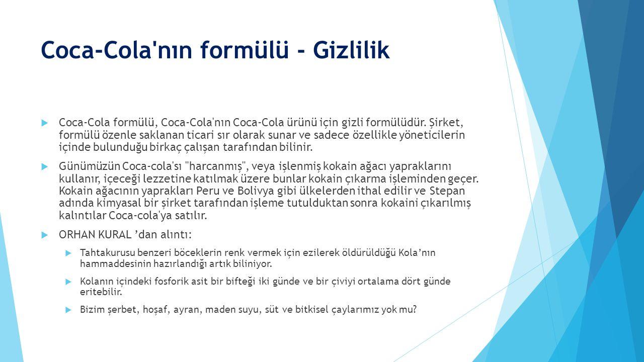 Coca-Cola nın formülü - Gizlilik