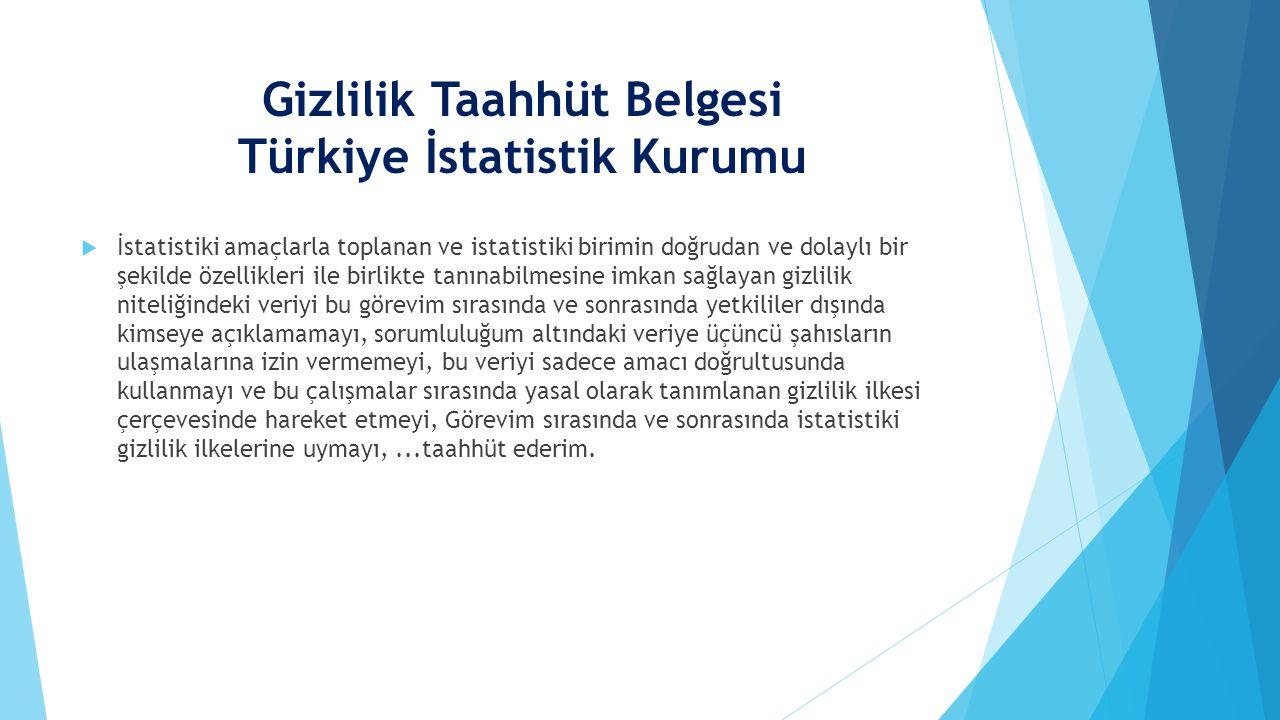 Gizlilik Taahhüt Belgesi Türkiye İstatistik Kurumu