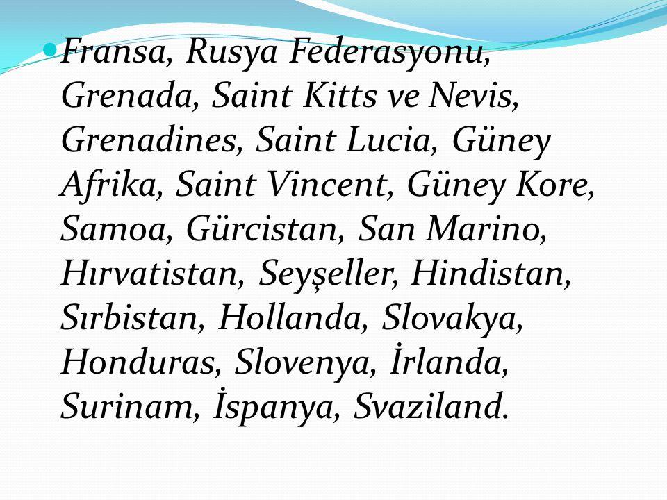 Fransa, Rusya Federasyonu, Grenada, Saint Kitts ve Nevis, Grenadines, Saint Lucia, Güney Afrika, Saint Vincent, Güney Kore, Samoa, Gürcistan, San Marino, Hırvatistan, Seyşeller, Hindistan, Sırbistan, Hollanda, Slovakya, Honduras, Slovenya, İrlanda, Surinam, İspanya, Svaziland.