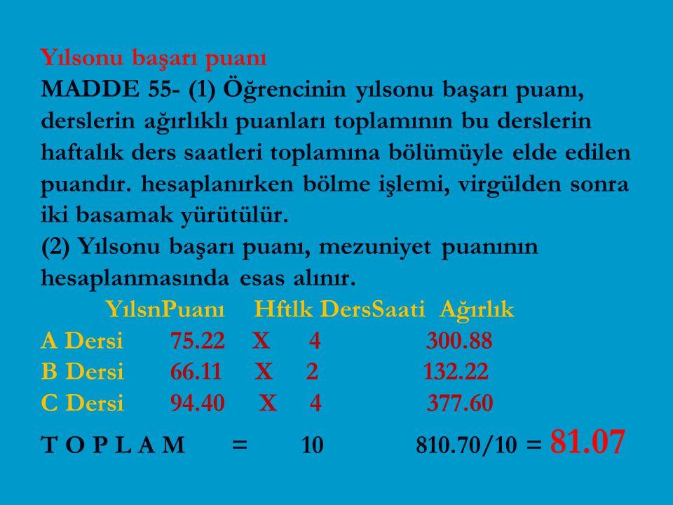 Yılsonu başarı puanı MADDE 55- (1) Öğrencinin yılsonu başarı puanı, derslerin ağırlıklı puanları toplamının bu derslerin haftalık ders saatleri toplamına bölümüyle elde edilen puandır.