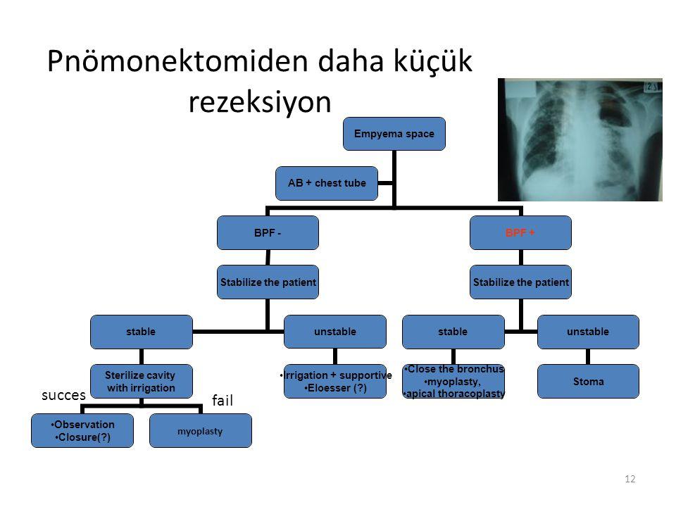 Pnömonektomiden daha küçük rezeksiyon