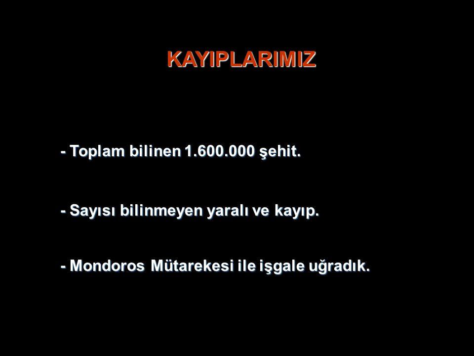KAYIPLARIMIZ - Toplam bilinen 1.600.000 şehit.