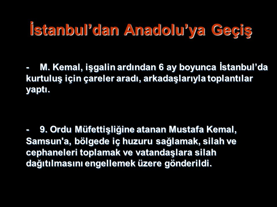 İstanbul'dan Anadolu'ya Geçiş