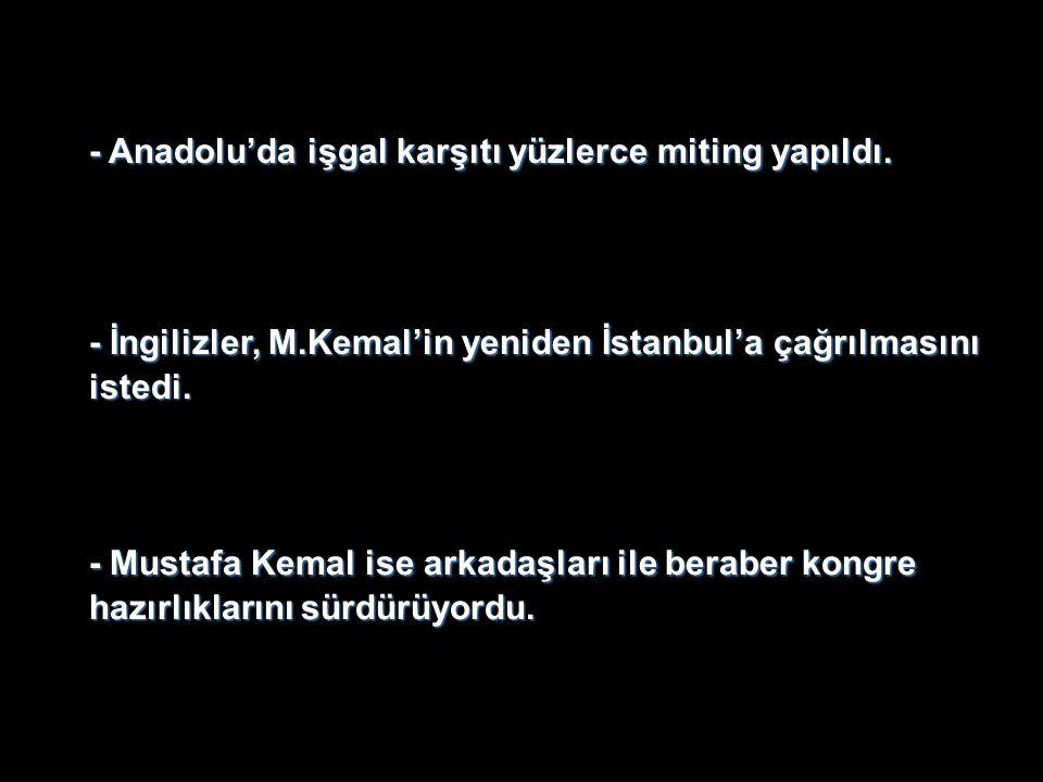- Anadolu'da işgal karşıtı yüzlerce miting yapıldı.