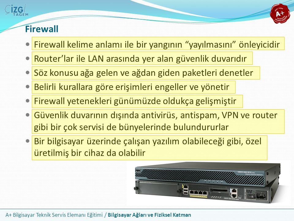Firewall Firewall kelime anlamı ile bir yangının yayılmasını önleyicidir. Router'lar ile LAN arasında yer alan güvenlik duvarıdır.