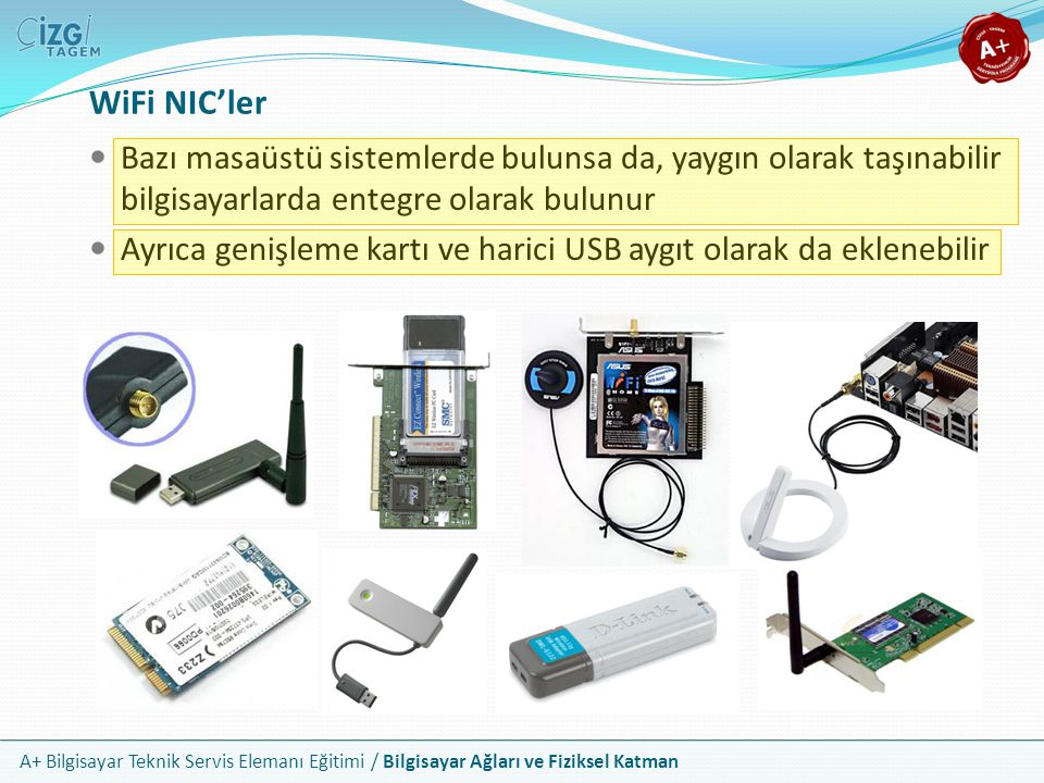 WiFi NIC'ler Bazı masaüstü sistemlerde bulunsa da, yaygın olarak taşınabilir bilgisayarlarda entegre olarak bulunur.