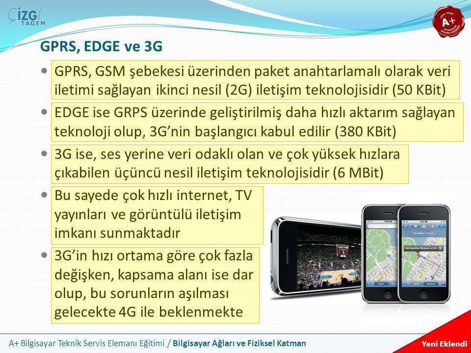 GPRS, EDGE ve 3G GPRS, GSM şebekesi üzerinden paket anahtarlamalı olarak veri iletimi sağlayan ikinci nesil (2G) iletişim teknolojisidir (50 KBit)