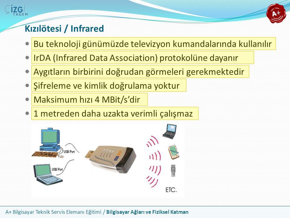 Kızılötesi / Infrared Bu teknoloji günümüzde televizyon kumandalarında kullanılır. IrDA (Infrared Data Association) protokolüne dayanır.
