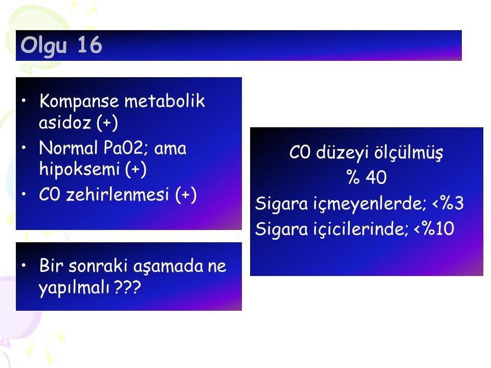 Olgu 16 Kompanse metabolik asidoz (+) Normal Pa02; ama hipoksemi (+)