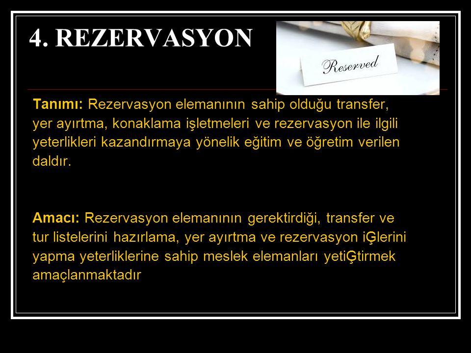 4. REZERVASYON Tanımı: Rezervasyon elemanının sahip olduğu transfer,