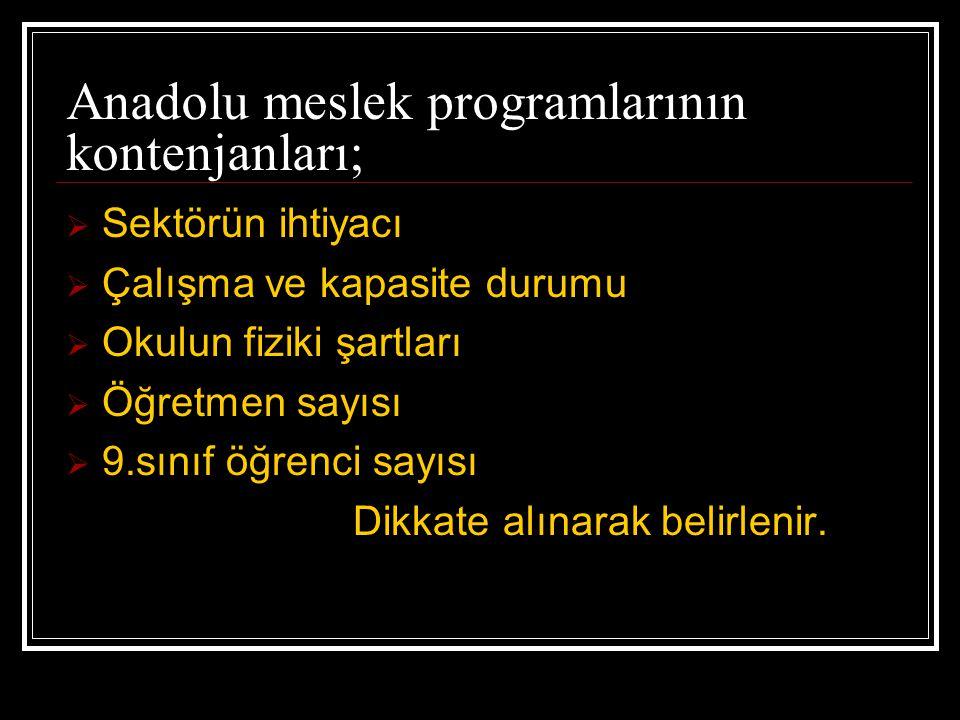 Anadolu meslek programlarının kontenjanları;