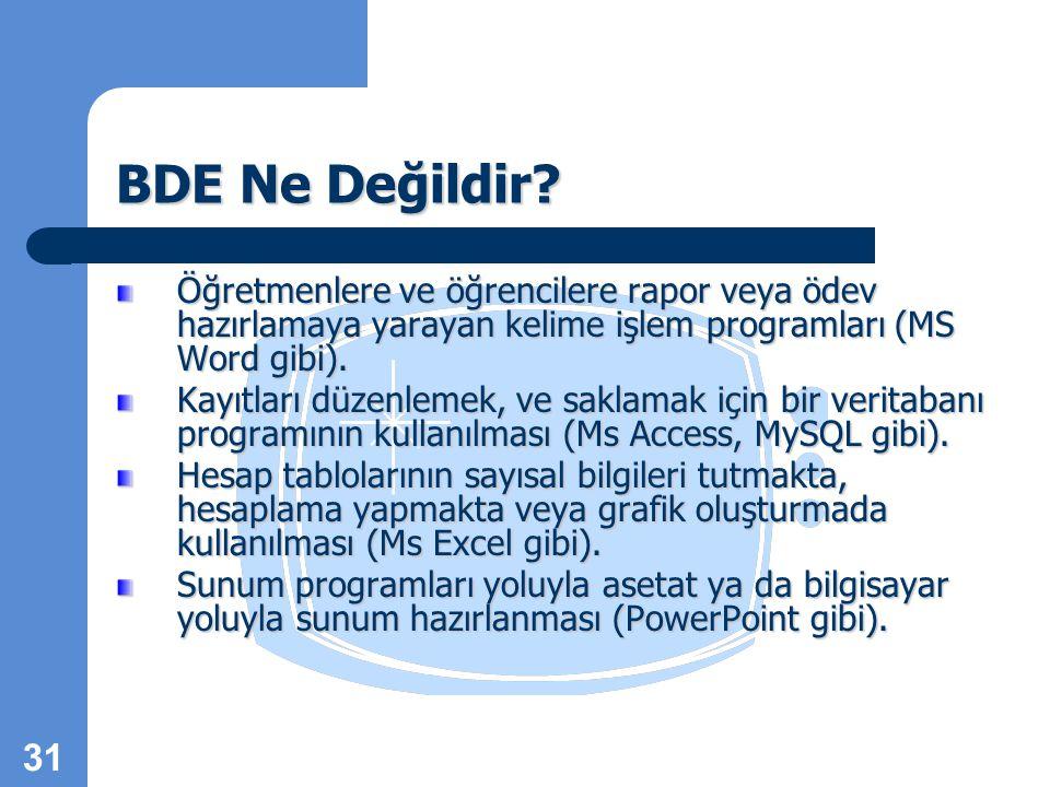 BDE Ne Değildir Öğretmenlere ve öğrencilere rapor veya ödev hazırlamaya yarayan kelime işlem programları (MS Word gibi).