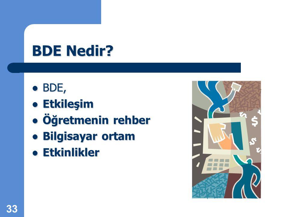BDE Nedir BDE, Etkileşim Öğretmenin rehber Bilgisayar ortam