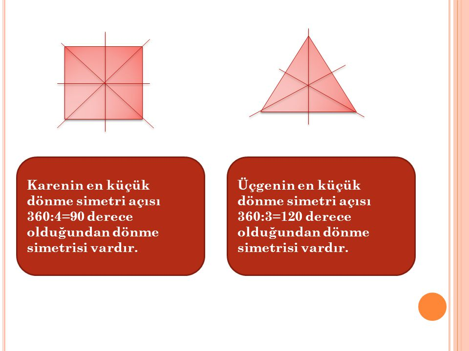 Karenin en küçük dönme simetri açısı 360:4=90 derece olduğundan dönme simetrisi vardır.