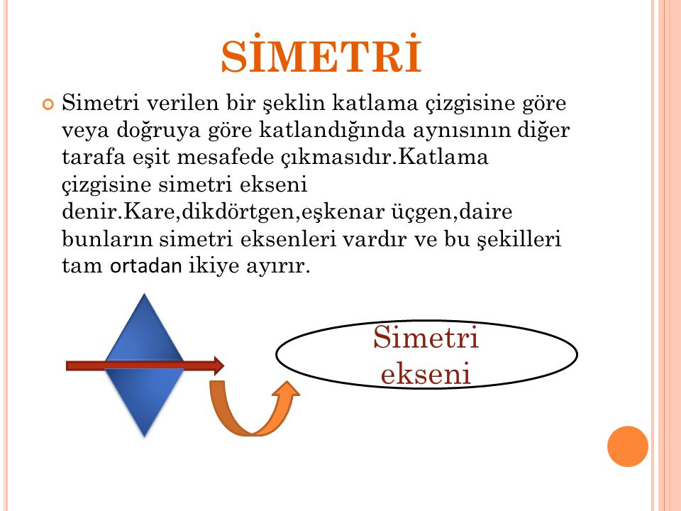 SİMETRİ Simetri ekseni