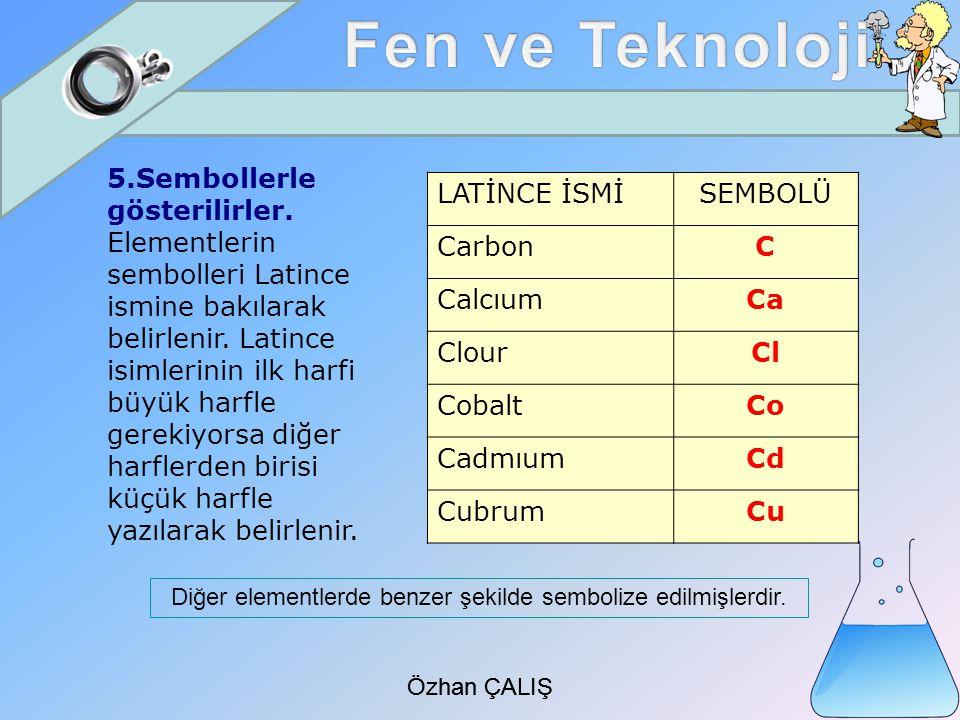 Diğer elementlerde benzer şekilde sembolize edilmişlerdir.