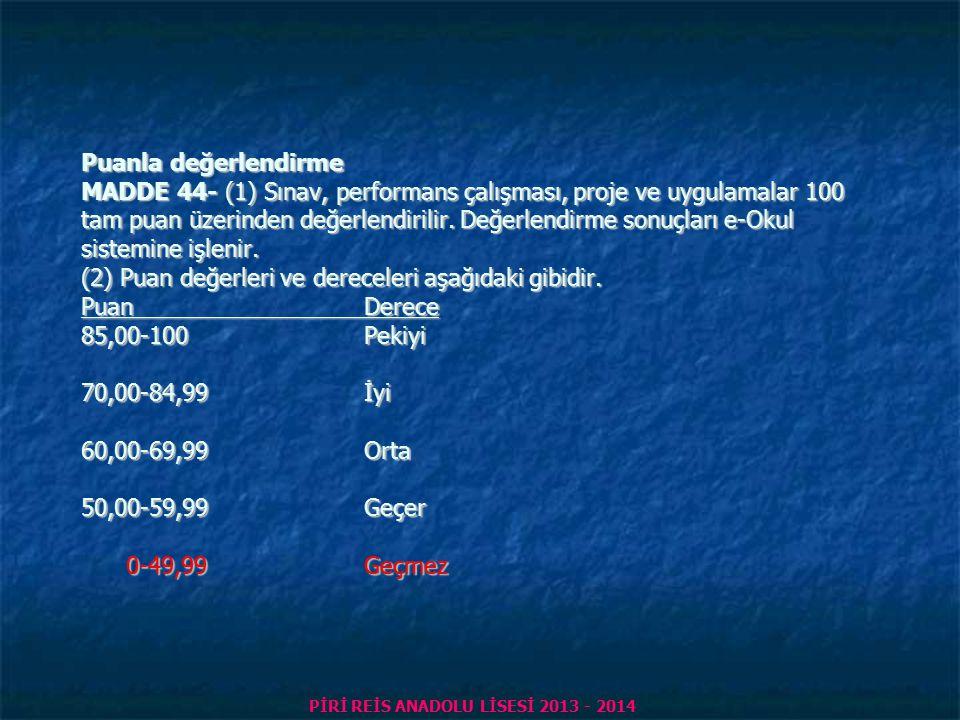 PİRİ REİS ANADOLU LİSESİ 2013 - 2014