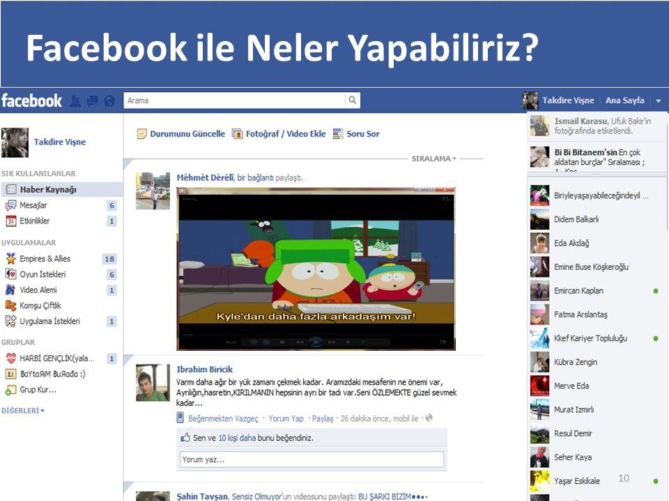 Facebook ile Neler Yapabiliriz