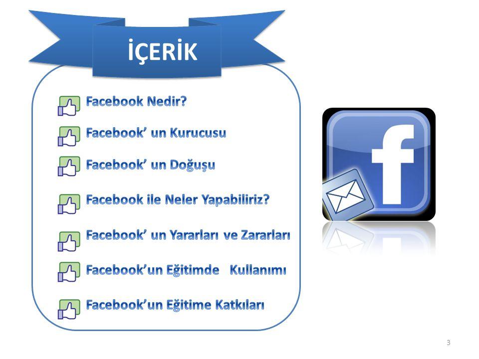 İÇERİK Facebook Nedir Facebook' un Kurucusu Facebook' un Doğuşu