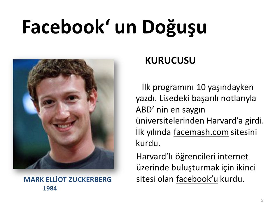 Facebook' un Doğuşu KURUCUSU