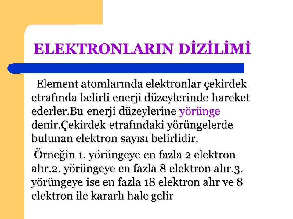 ELEKTRONLARIN DİZİLİMİ