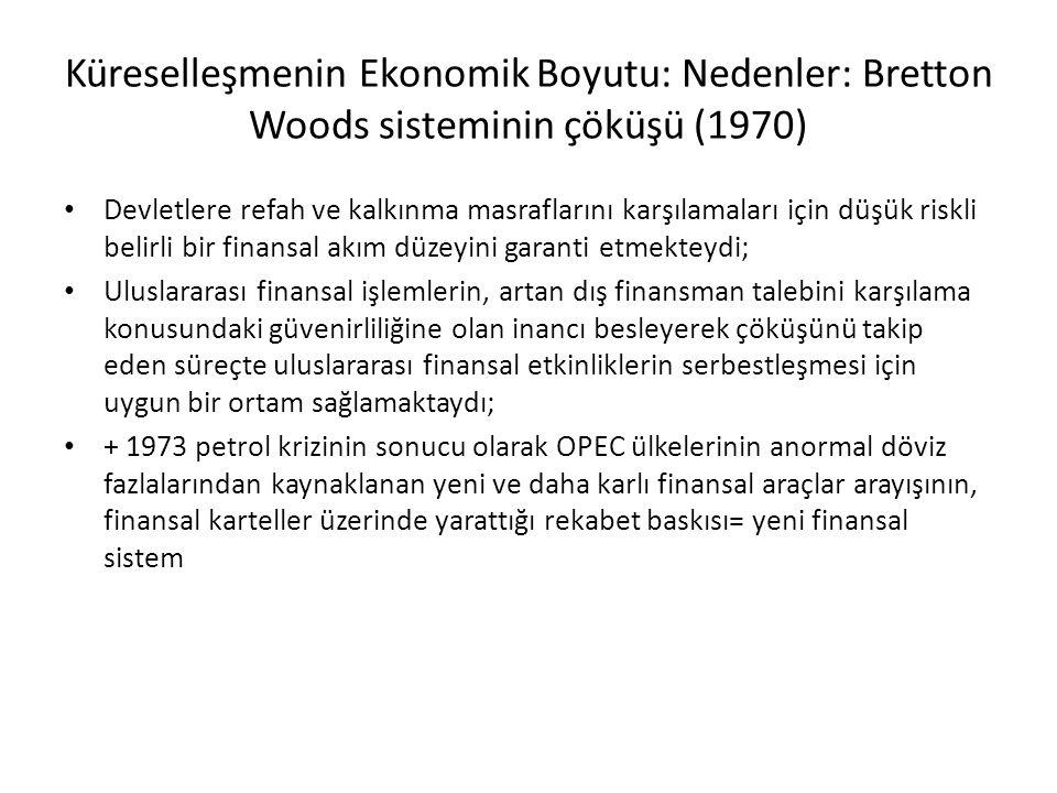 Küreselleşmenin Ekonomik Boyutu: Nedenler: Bretton Woods sisteminin çöküşü (1970)