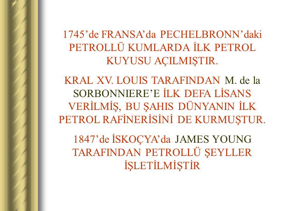 1745'de FRANSA'da PECHELBRONN'daki PETROLLÜ KUMLARDA İLK PETROL KUYUSU AÇILMIŞTIR.
