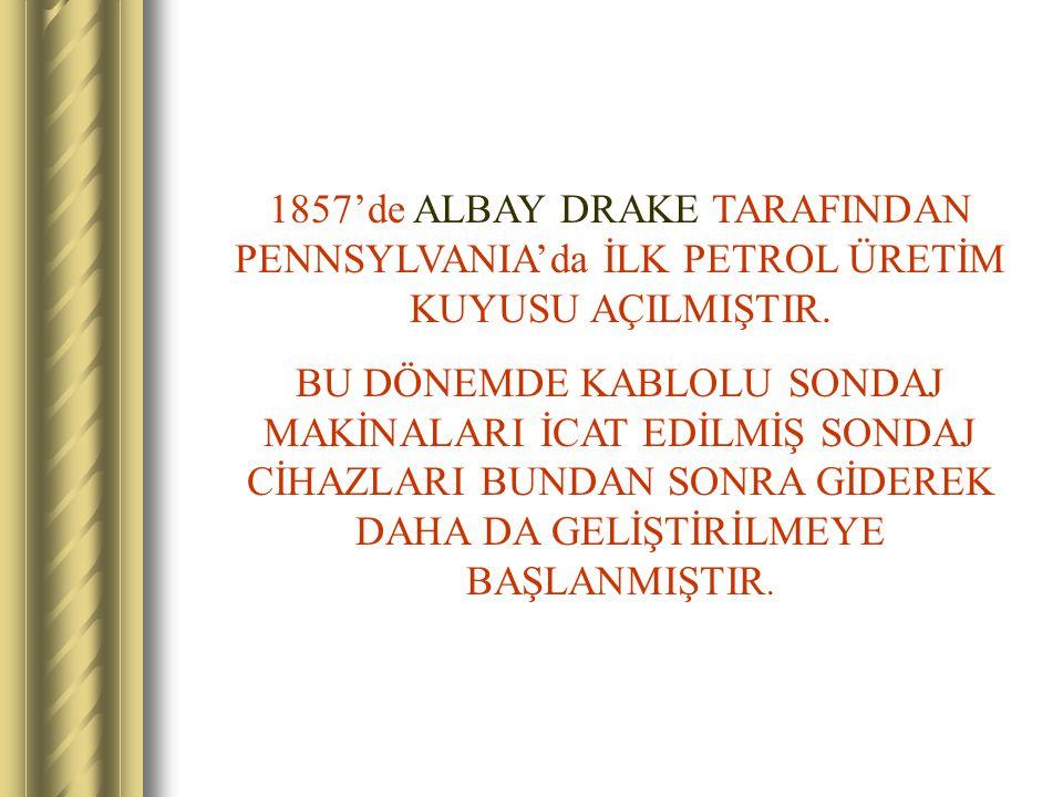 1857'de ALBAY DRAKE TARAFINDAN PENNSYLVANIA'da İLK PETROL ÜRETİM KUYUSU AÇILMIŞTIR.