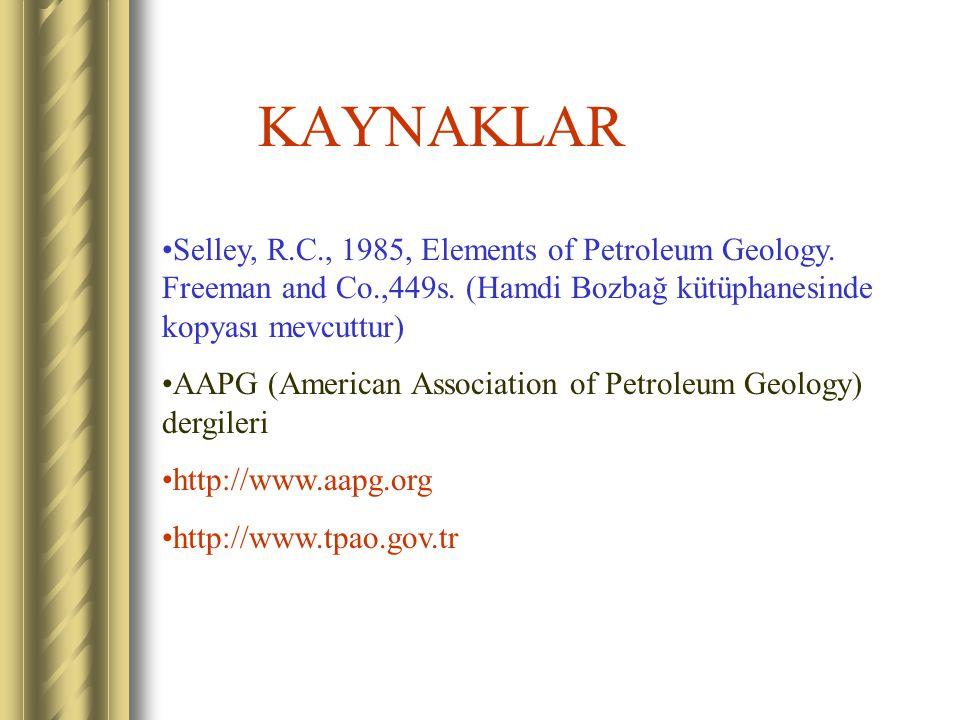 KAYNAKLAR Selley, R.C., 1985, Elements of Petroleum Geology. Freeman and Co.,449s. (Hamdi Bozbağ kütüphanesinde kopyası mevcuttur)