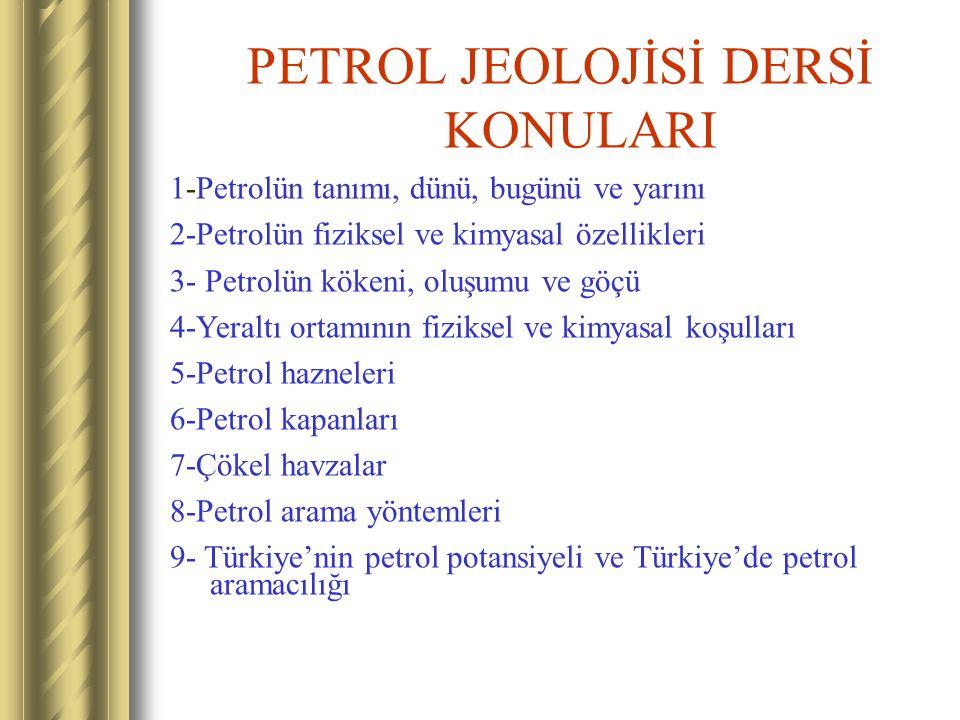 PETROL JEOLOJİSİ DERSİ KONULARI