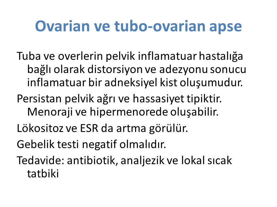 Ovarian ve tubo-ovarian apse