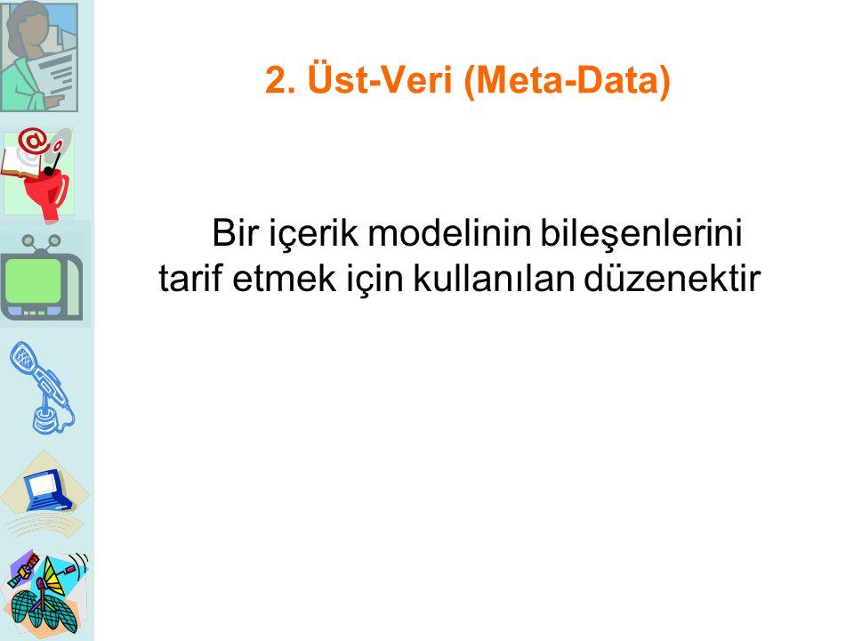 2. Üst-Veri (Meta-Data) Bir içerik modelinin bileşenlerini tarif etmek için kullanılan düzenektir