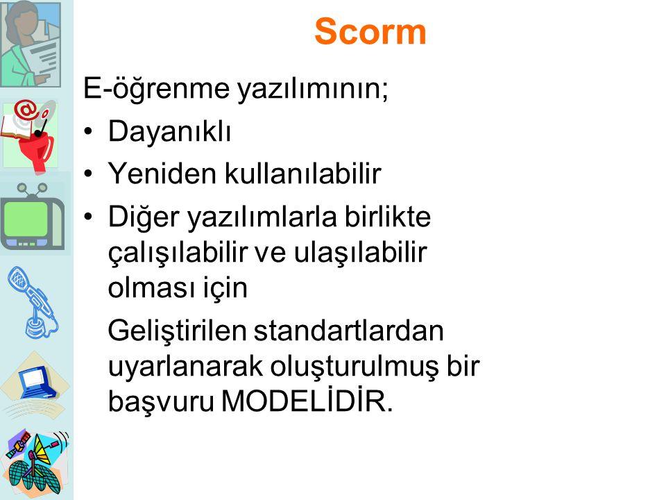 Scorm E-öğrenme yazılımının; Dayanıklı Yeniden kullanılabilir