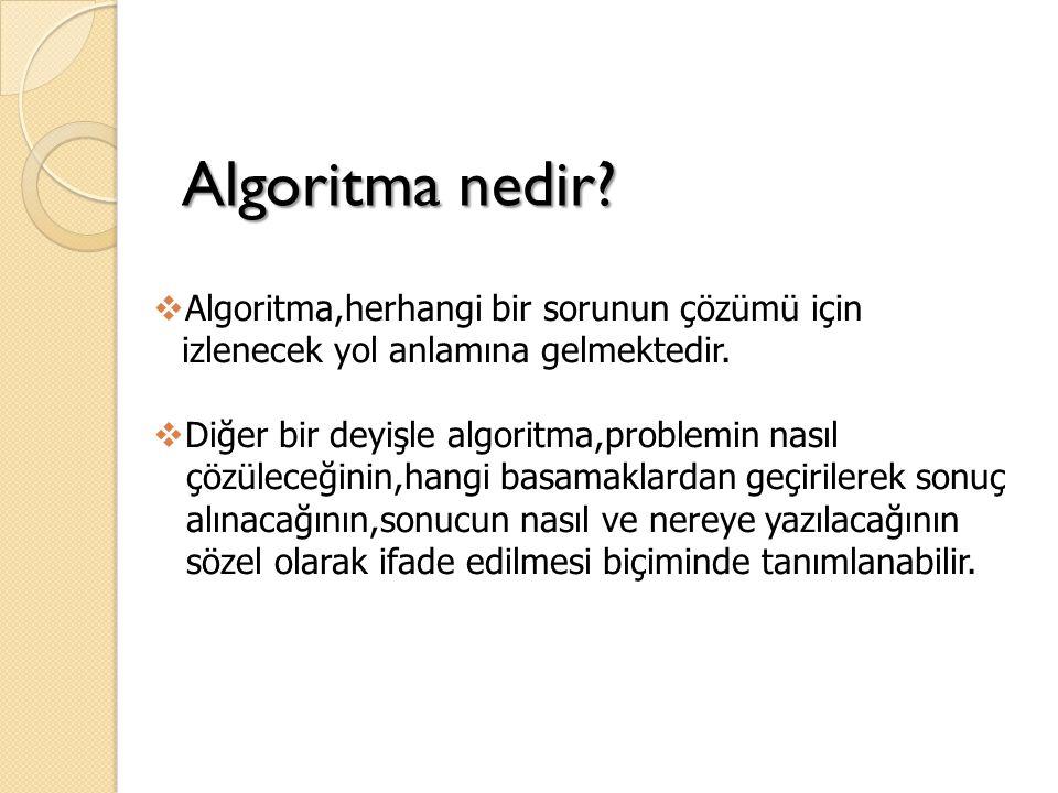 Algoritma nedir Algoritma,herhangi bir sorunun çözümü için izlenecek yol anlamına gelmektedir. Diğer bir deyişle algoritma,problemin nasıl.