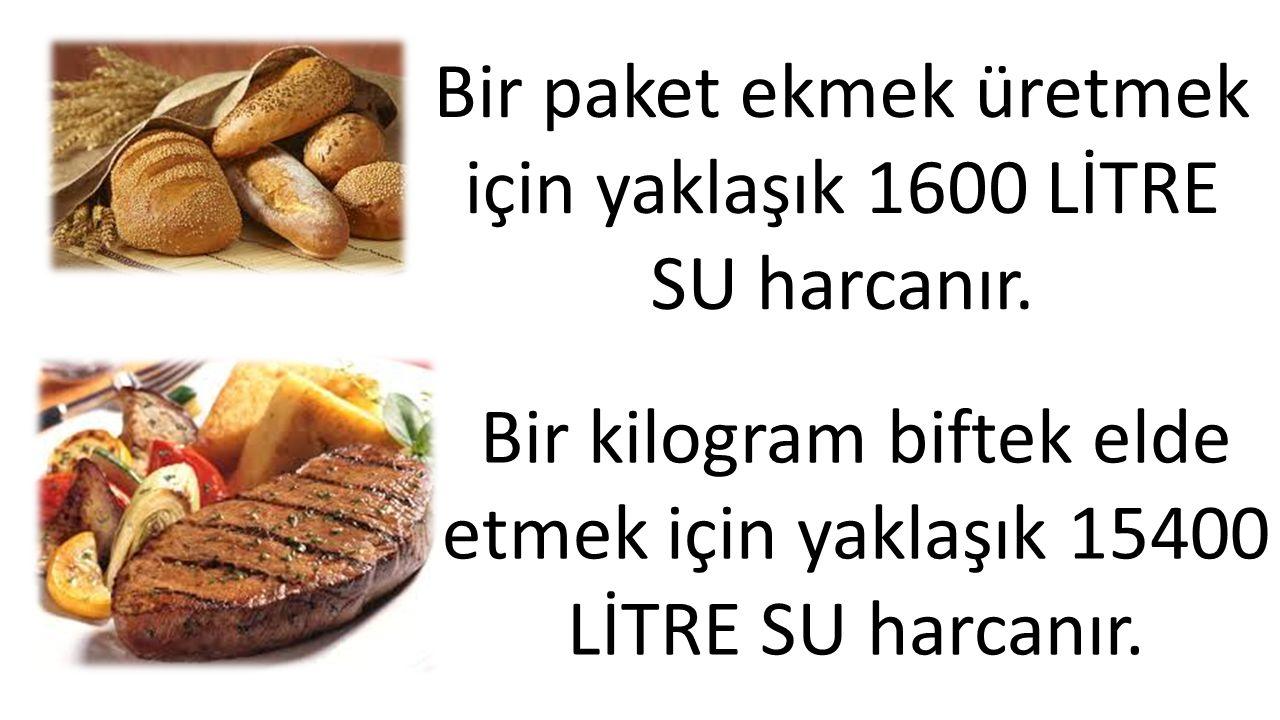 Bir paket ekmek üretmek için yaklaşık 1600 LİTRE SU harcanır.