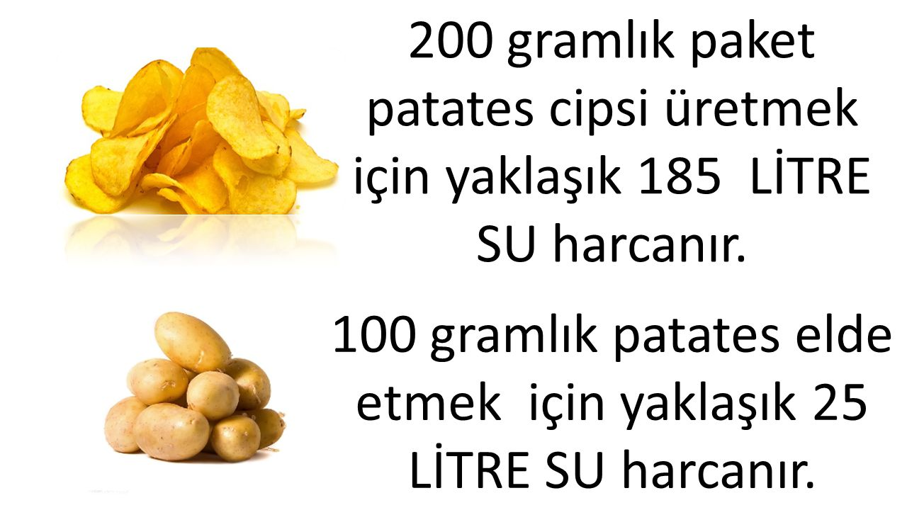 100 gramlık patates elde etmek için yaklaşık 25 LİTRE SU harcanır.