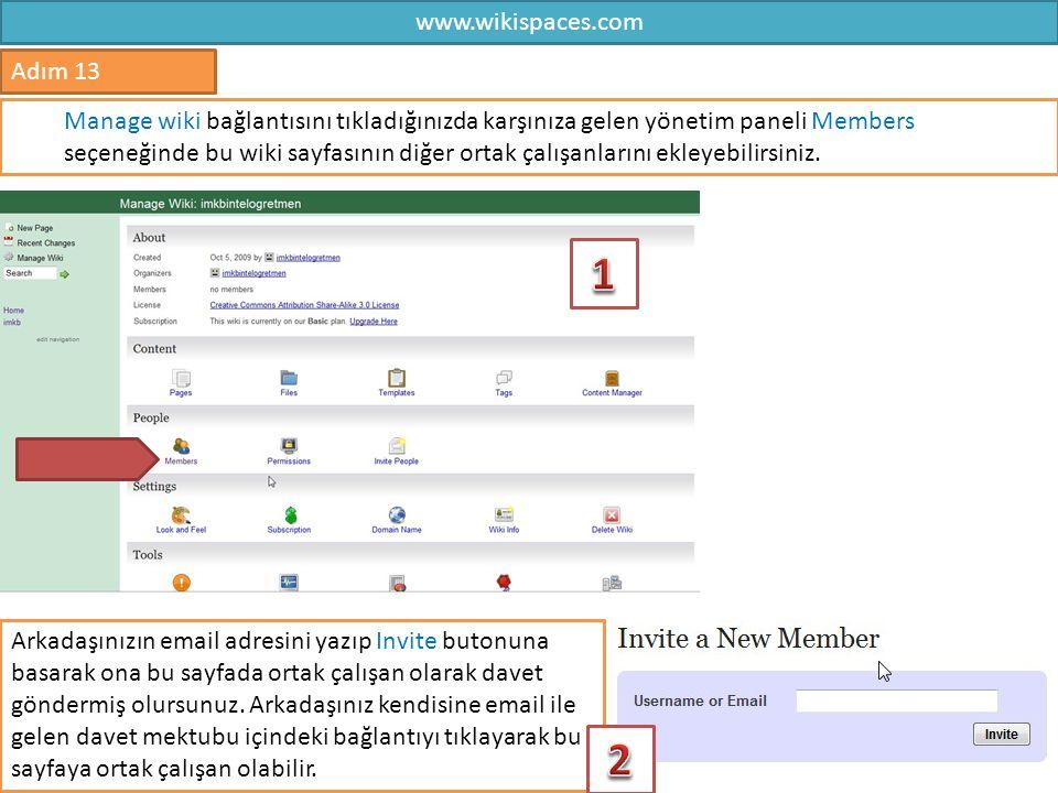 1 2 www.wikispaces.com Adım 13