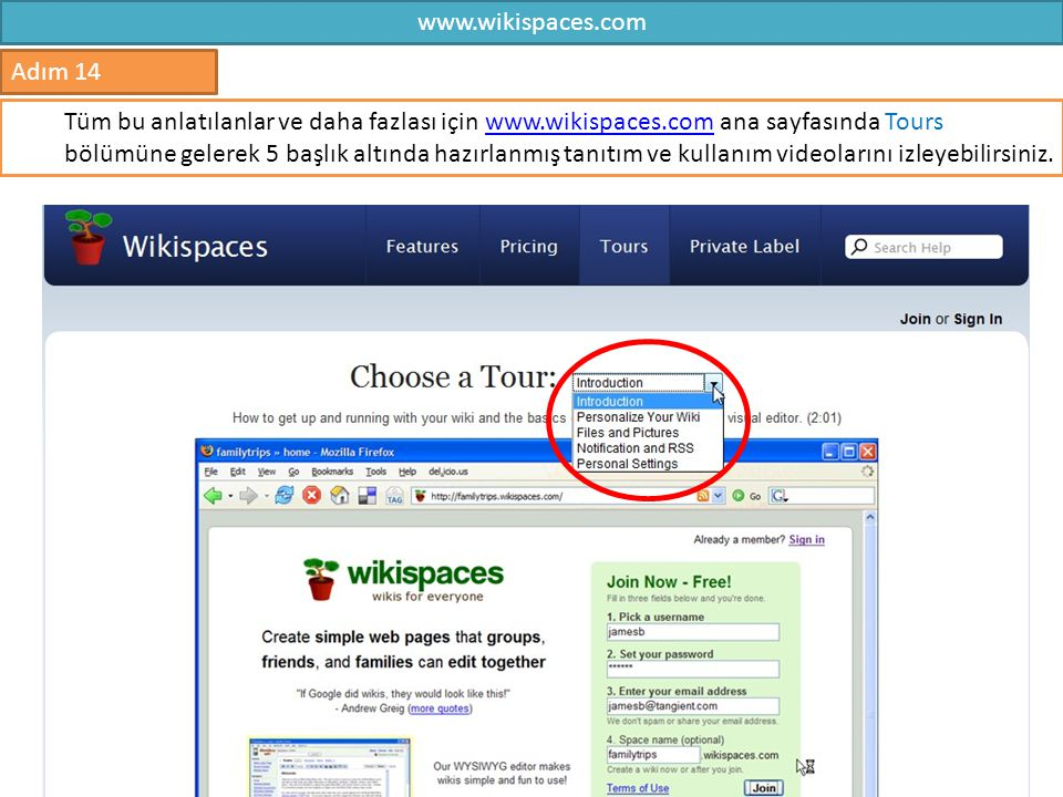 www.wikispaces.com Adım 14.