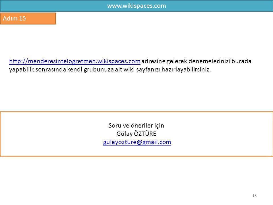 www.wikispaces.com Adım 15.