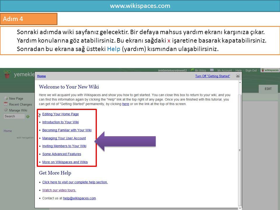 www.wikispaces.com Adım 4.