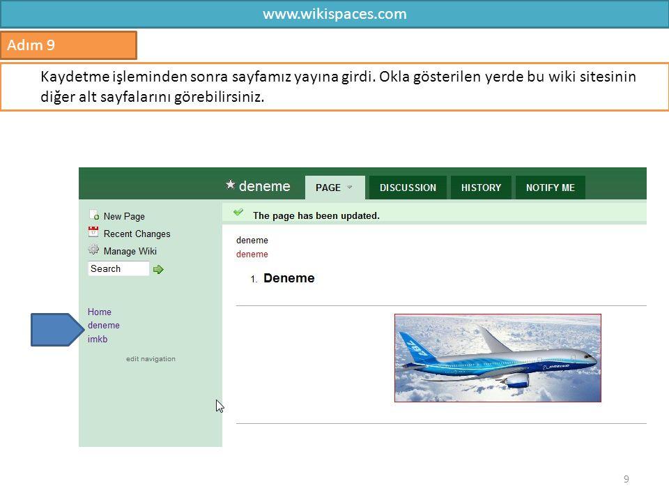 www.wikispaces.com Adım 9.