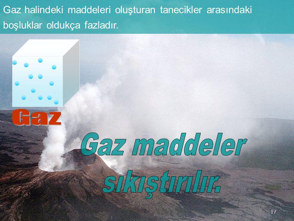Gaz Gaz maddeler sıkıştırılır.