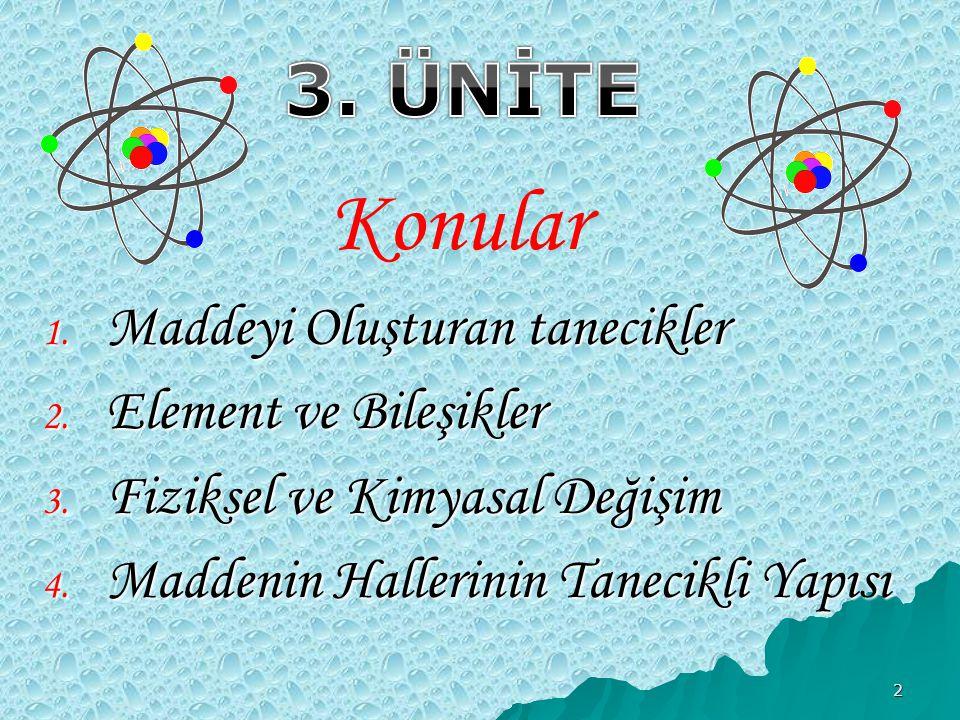 Konular 3. ÜNİTE Maddeyi Oluşturan tanecikler Element ve Bileşikler