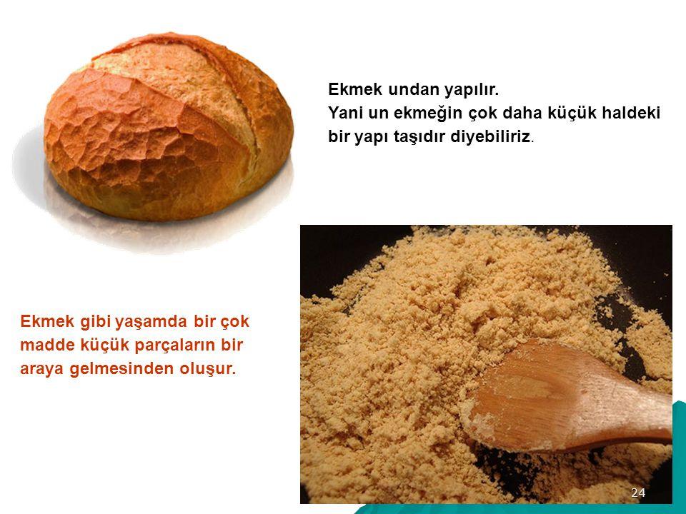 Ekmek undan yapılır. Yani un ekmeğin çok daha küçük haldeki bir yapı taşıdır diyebiliriz.
