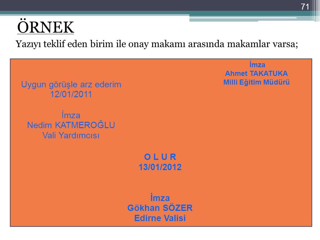 ÖRNEK Yazıyı teklif eden birim ile onay makamı arasında makamlar varsa; İmza Ahmet TAKATUKA. Milli Eğitim Müdürü.