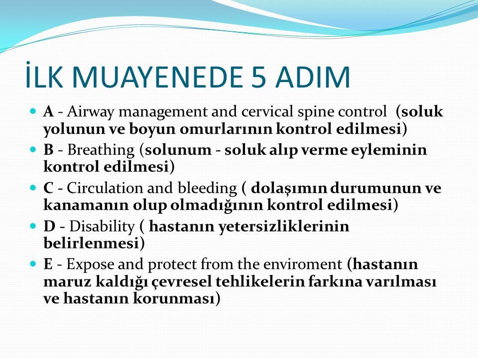 İLK MUAYENEDE 5 ADIM A - Airway management and cervical spine control (soluk yolunun ve boyun omurlarının kontrol edilmesi)